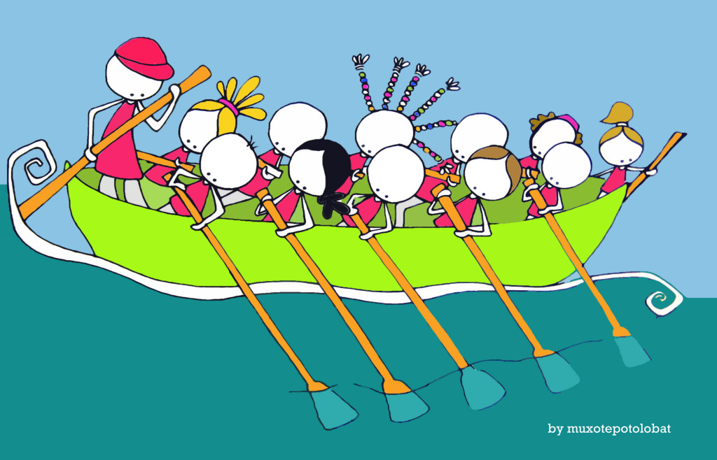 Boga!! Elkarrekin. Remando juntos/as. Rowing together.